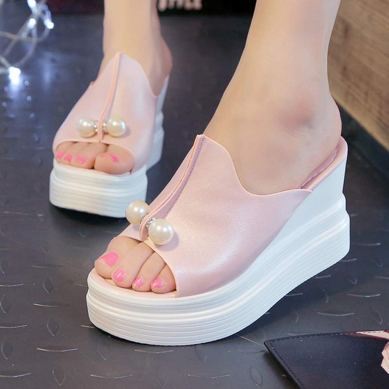 UKJSNHH igh Heels Women Wedges high Heels Platform Sandals Summer Slippers Thick Heel Slippers Slides Ladies Wedges shoes