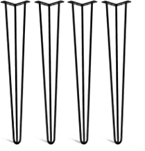 Metal Table Legs x 4, Hairpin Table Legs, Heavy Duty Furniture Table Legs 28 Inch 30 Inch, 3 Rod Black Solid Iron Metal Co...