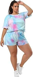 Agnes Orinda Women's Sets Short Sleeves Round Neck Tie Dye Two Pieces Set