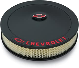 "Proform 141-752 Black Crinkle 14"" Diameter Air Cleaner Kit with Red Chevrolet/Bowtie Logo and 3"" Paper Filter"