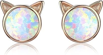 Opal Stud Earrings, Cat Ear Stud Earrings 18K Gold Plated Sterling Silver Cute Kitten Earrings Gift for Cat Lovers