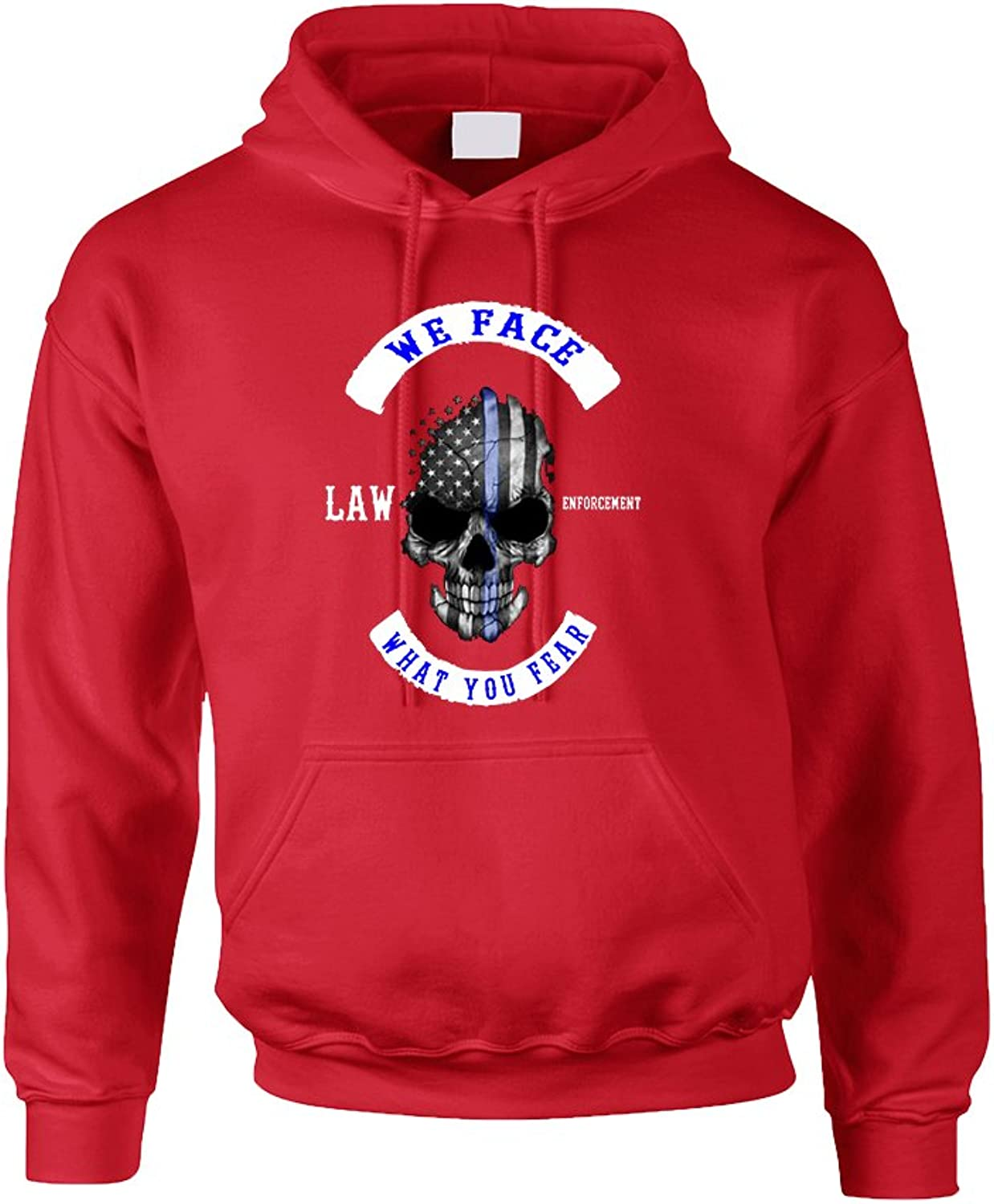 Allntrends Adult Hoodie We Face What You Fear USA Flag Skull Top