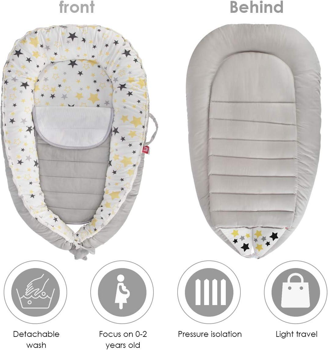 Tabpole Chaise longue pour bébé portable avec coussin d'urine pour bébé 0-1 ans Gris + étoile jaune.