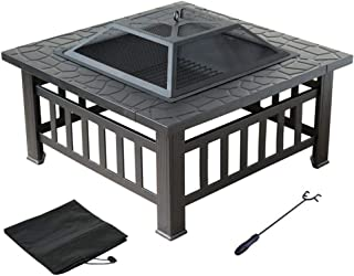 3 in 1 Fire Pit with BBQ Grill Shelf,Outdoor Metal Brazier Square Table Firepit for BBQ, Heating, Cooling Drinks w/Cover a...