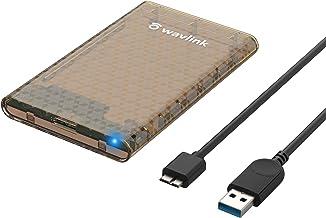 محفظه هارد WAVLINK 2.5 اینچی ، USB 3.0 تا SATA III/II/I قاب دیسک خارجی برای هارد SSD 9.5/7mm ، پشتیبانی حداکثر 4 ترابایت با پروتکل UASP ابزار 5Gbps رایگان برای رایانه رومیزی تلویزیون لپ تاپ PC