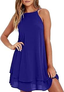 Womens Chiffon Dress Sexy Summer Beach Sundress Cold Shoulder Flowy Halter Short Dress Casual Loose