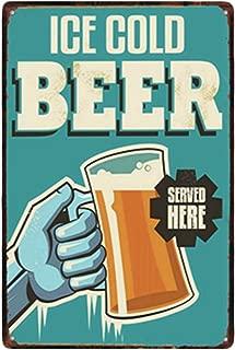 Doitsa 1x Tin Sign Ice Cold Beer Vintage Poster Cartel de Chapa Placa Metal para Bar Cerveza Cafetería 20x30cm