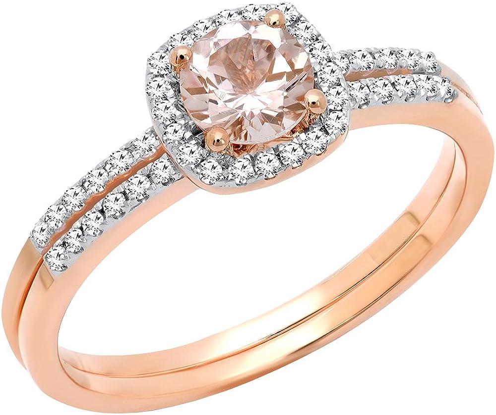 Dazzlingrock Collection 10K 5 MM Round Gemstone & Diamond Bridal Halo Engagement Ring With Matching Band Set, Rose Gold