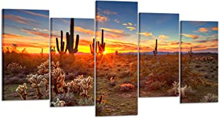 Kreative Arts - Natural Landscape Paintings Wall Art Sunset with Saguaros in Sonoran Desert 5 Pieces Picture Print on Canvas for Modern Home Decoration (Large Size 60x32inch)