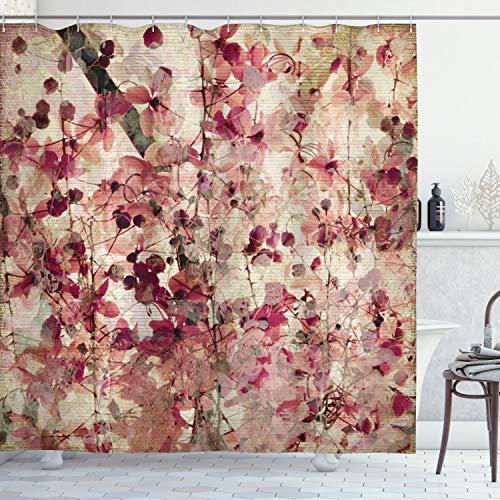 ABAKUHAUS Duschvorhang, Kirschblüten auf Gewelltem Bambus Retro Hintergrund Blumenkunst Arbeit Digital Druck, Blickdicht aus Stoff inkl. 12 Ringen Umweltfreundlich Waschbar, 175 X 200 cm
