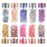 Frcolor Body Glitter, Holographic Chunky Glitter 10 Colors Face Body Eye Hair Nail Glitter Sequins for Festival Halloween Party Makeup, Unicorn and Hexagons Shaped (10ml)