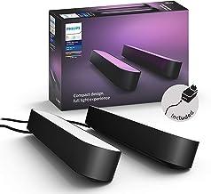 Philips Hue Play Barra de luz regulable compatible con Amazon Alexa, Apple HomeKit y Google Home, luz blanca y de colores, requiere conexión a puente Hue, negra, incluye alimentador (2 unidades)