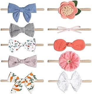 Baby Girl Headbands and Bows, Soft Elastic Nylon Headbands for Newborn,Toddler and Children