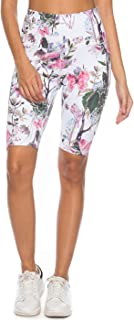 Mint Lilac Women's High Waist Workout Printed Yoga Shorts Athletic Mid-Length Tummy Control Running Short Pants