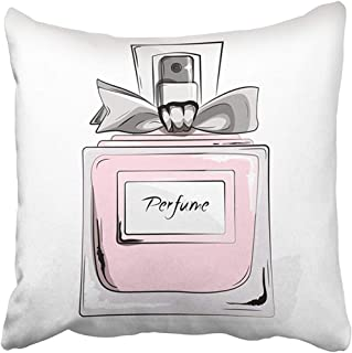 Throw Pillow Cover Decorative Polyester 18x18 Inches Haute Couture Watercolor Perfume Pink Bottle in Woman Glamour Beauty Aroma Liquid Cushion Pillow Case Square Two Sides Print Home