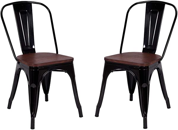 Costway Tolix Style Dining Chairs Industrial Metal Stackable Cafe Side Chair W Wood Seat Set Of 2 Black