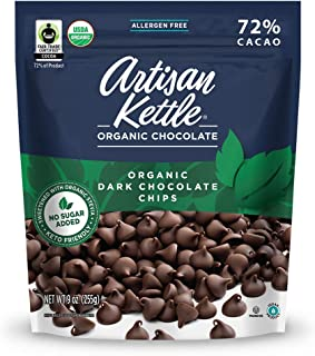Artisan Kettle Organic No Sugar Added Dark Chocolate Chips, 9 Oz