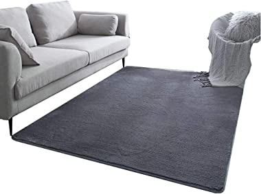 Rug Thick Suede Non-Slip Carpet Sofa Restaurant Bedroom Bed Soft and Thick Rug, 4 Colors, 5 (Color : Black, Size : 200 * 280c