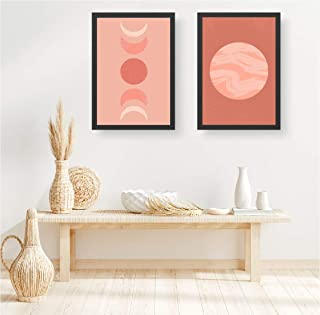 """HOMMBAY Glass Abstract Moon Cycle Art Print Phases Poster Wall Art -Set of 2 Frame(12"""" x 8"""" Inches, White)"""