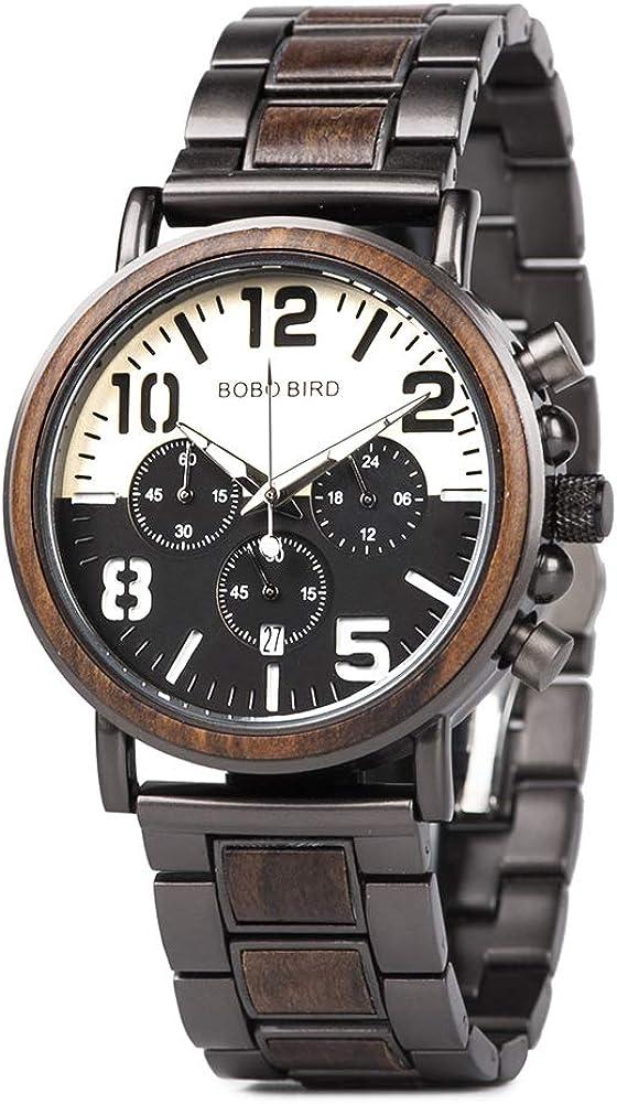 Men Watch Baltimore Mall Wooden Luxury Stylish Daily bargain sale Wood Chronograph Quartz Military