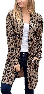 Women's Classic Leopard Print Outwear - Long Sleeve Pocket Fashion Coat Blouse T-Shirt Cardigan Tops