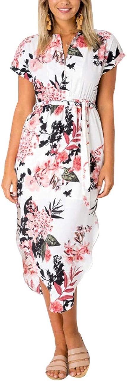 OMZIN Women's Short Sleeve V Neck Geometric Irregular Print Midi Dress with Belt