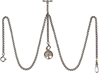 SIBOSUN Pocket Watch Double Albert Chain T Bar Watch Chain 3 Hook Antique Fob Curb Link Chain for Men with Life Tree Pendant Design Bronze