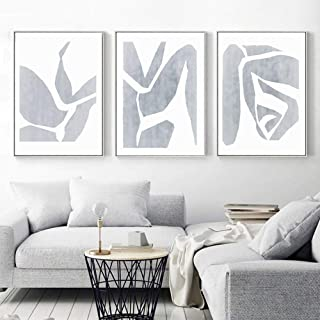 LSSJLUH Gray Abstract Set of 3 Wall Art Canvas Painting Artwork Wall Picture Bedroom Poster Couple Art Decoration