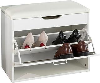 SoBuy FSR95-W Banc à Chaussures Meuble Chaussures Commode à Chaussures Meuble d'entrée 1 abattant avec Assise Rabattable C...