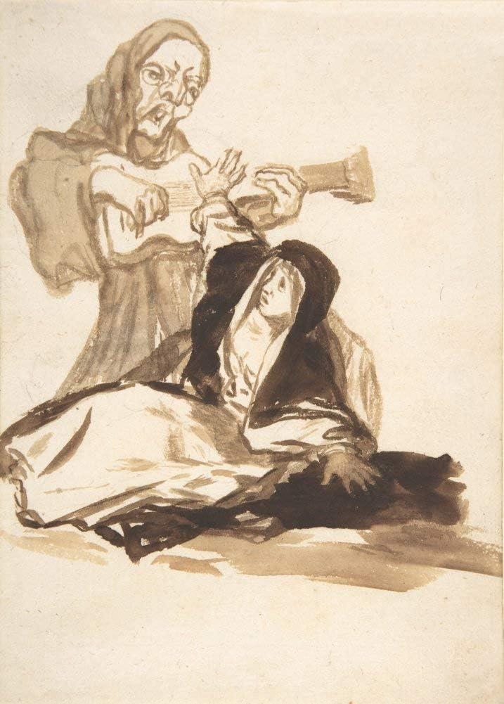 Póster clásico de Goya 'A monja asustada por un fantasma tocando una guitarra', España, 1812-20, reproducción de 200 g/m² A3