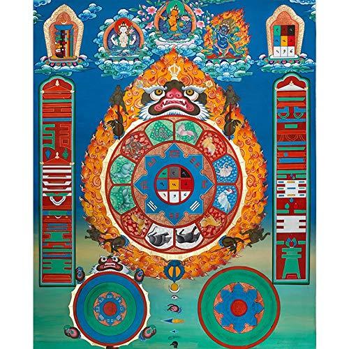 Thangka Woonkamer veranda hangende schilderij Tibetaanse Tangka Hobbas altaar stad huisdecoratie schilderij (Color : Free, Size (Inch) : 40x49cm No Frame)