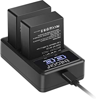 ENEGON NP-W126S NP-W126 Replacement Battery (2-Pack) and Smart LED Dual Charger for Fujifilm NP-W126S NP-W126 and Fuji FinePix HS30EXR HS35EXR HS50EXR X-A1 X-E1 X-E2 X-M1 X-Pro1 X-T1 and More Cameras