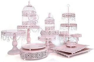Cupcake Stands, 14 Set Metal Crystal Cake Holder Cupcake Stand Cake Dessert Holder with Pendants and Beads,Wedding Birthday Dessert Cupcake Pedestal Display, Pink USA STOCK (14, pink)