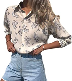 S-Fly Women Loose Fit Casual Floral Print Button Down Long Sleeve Shirts