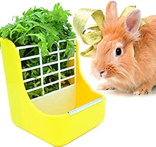 zswell Hay Food Bin Feeder, Hay and Food Feeder Bowls Manger Rack for Rabbit Guinea Pig Chinchilla and Other Small Animals (Yellow)