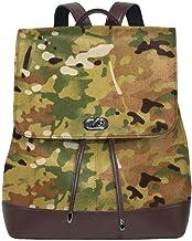 Rucksack Damen Multicam Camouflage Stoff, Leder Rucksack Damen 13 Inch Laptop Rucksack Frauen Leder Schultasche Casual Daypack Schulrucksäcke Tasche Schulranzen
