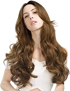 SEIKEA Long Wavy Hair Wig for Women Natural Soft Synthetic Hairpiece Black Root - Honey Brown