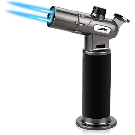 Cadrim Butane Torch, Refillable Culinary Blow Torch Double Fire Cooking Torch and Small Adjustable Flame Kitchen Torch for Creme Brulee, Baking BBQ(Butane Fuel Not Included)