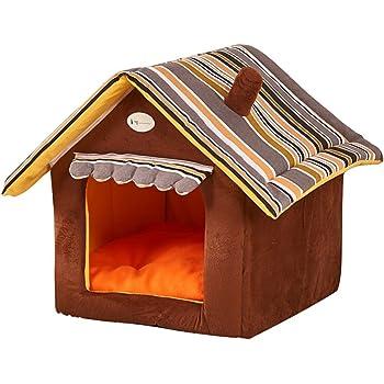 Yihiro 小型犬 猫用 ペットハウス 折りたたみ 室内用 犬小屋 三角屋根 3サイズ ドット ペットベッド (S:(35*35*30cm), コーヒー)