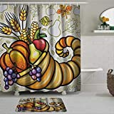 BYRON HOYLE Cornucopia Ernte Thanksgiving Bild mit verschiedenen Herbstertrag Kürbis Mais Duschvorhang mit Ringen Polyesterstoff Duschvorhänge mit Haken Bad Badezimmer Dekor 182,9 x 182,9 cm