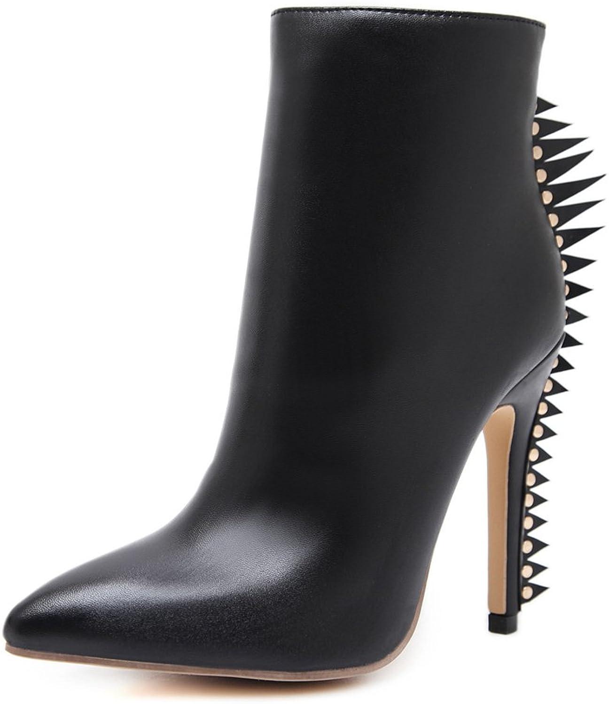 Btrada Womens Winter Trendy Zipper Side Ankle Boots Fur Lining Rivet Pointy Stiletto Kitten-Heel Pumps