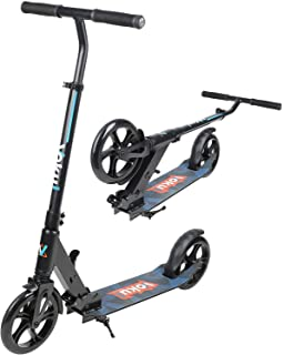 VOKUL Foldable Kick Scooters for Adults Teens Kids - 1 SEC Folding System + 90-105cm Adjustable Bar + Shock Absorption System + 200mm Big Wheels,Smooth Glide Scooter with 220lbs Capacity
