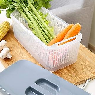 CAI Ménage Boîte de Rangement Réfrigérateur en Bois Massif Double-Couche de légumes créatif Légumes de Grande capacité Bac...