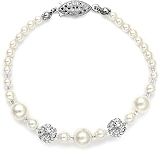 Pearl Wedding Tennis Bracelet for Women, 7 or 8 Inch, Swarovski Rhinestone Crystal, Made in USA