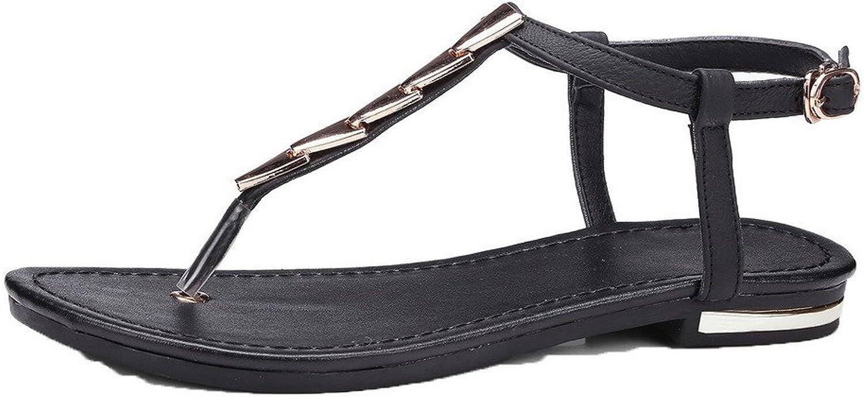 AmoonyFashion Women's Buckle Split-Toe Low-Heels Pu Solid Sandals