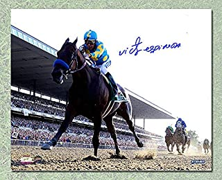 Victor Espinoza Autographed American Pharoah Belmont Stakes Triple Crown 16x20 Photo