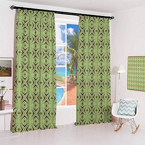 Mid Century hook up curtain Atomic Form with Boomerang Details Dots and Crossed Lines For bedroom kindergarten living room W52 x L63 Inch Apple Green Plum Bondi Blue