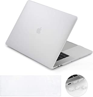 lention Matte Hard Case Compatible MacBook Pro (13-inch, 2016 2017 2018 2019, 2/4 Thunderbolt 3 Ports) - with or w/Out Touch Bar, A1706/A1708/A1989, Matte Finish with Rubber Feet (Frost Clear)