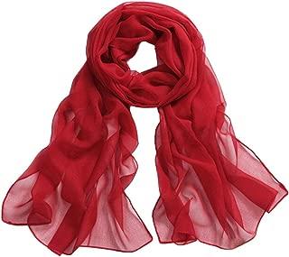 Sothread Women Girls Chiffon Scarf Solid Color Soft Long Beach Scarves Shawl Wrap Thin (Red).