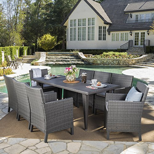 Cerrenne Outdoor 9 Piece Grey Wicker Rectangular Dining Set with Light Grey Water Resistant Cushions
